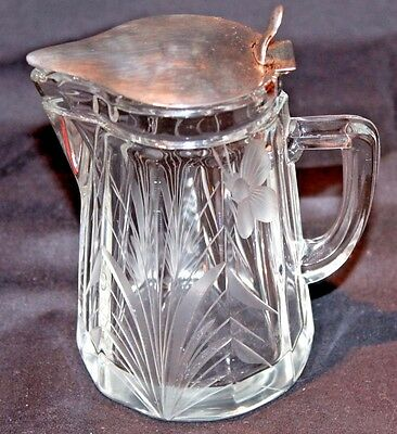 Antique Art Deco Watson Sterling Silver And Cut Glass Syrup Pitcher C. 1925
