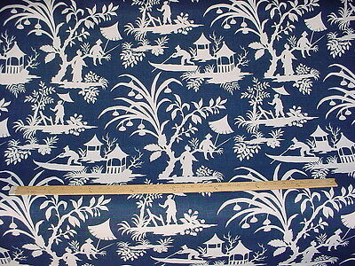 4Y Robert Allen Indochine Midnight Blue / White Toile Drapery Upholstery Fabric