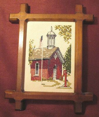 AMERICANA SAMPLER  Antique Walnut Frame COUNTRY CHURCH Pump AMERICAN FLAG Lovely