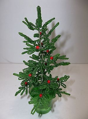 """Vintage French Glass Beaded Flowers CHRISTMAS TREE GREEN Glass Pot 6"""""""
