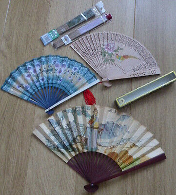 5xHAND HELD FANS,WOODEN,BAMBOO,PAPER,CHINESE,ORIENTAL,COOLING,job lot,vintage