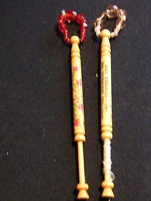 Pair of spangled wooden lace bobbins 1992John Bull trophy 1995, National Fair