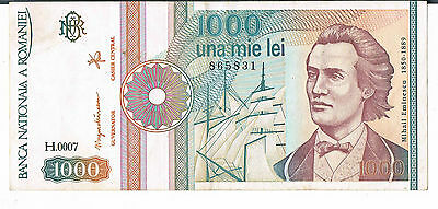 ROMANIA BANKNOTE 1000 P101Aa 1991 GVF-aEF with dot after Block letter 1/2 types
