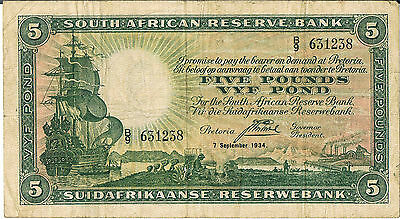 South Africa Banknote 5 P86B 07.09.1934 Vf