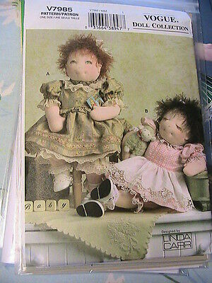 """VOGUE 15"""" DOLL COLLECTION~LINDA CARR *RARE OOP NEW~2004 cloth art doll pattern"""