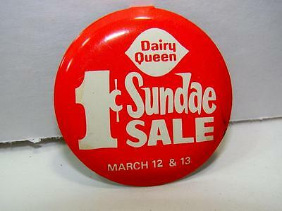 """Vintage Dairy Queen """" 1cent Sundae Sale"""" metal TAB button pin pinback RARE"""