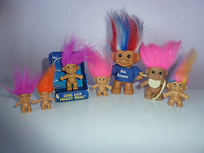 Vintage 1990's Russ Troll Bundle Including Tiny Trolls, Baby,lucky Troll Etc