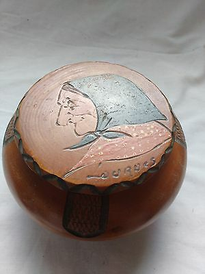 2 Vintage French Carved Wooden Tobacco Pot & Lid Breton woman and man? QUIMPER?