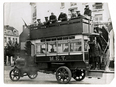 World War One Ww1 Original Photo - London  Buses With Wounded Ghent