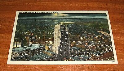 Akron OHIO at Night postcard in Good Condition.