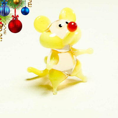 VIDEO tiny miniature glass yellow Mouse. Blown glass Murano handcraft figurine