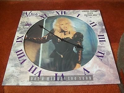 """VIXEN - not a minute too soon  12"""" picture disc single 1990 EX"""