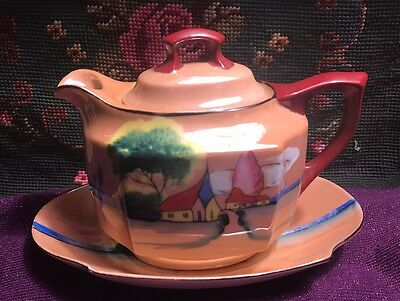 Vintage LUSTERWARE Hand Painted House and Water Landscape Scene Teapot (Japan)