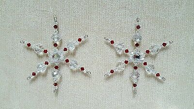 Two Swarovski Crystal Siam Glass Beaded Snowflake Ornament Suncatchers