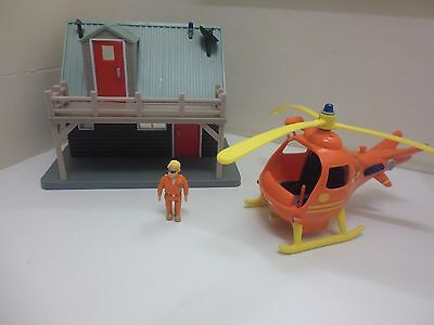Fireman Sam Mountain Lodge Rescue Station Helicopter And Figure