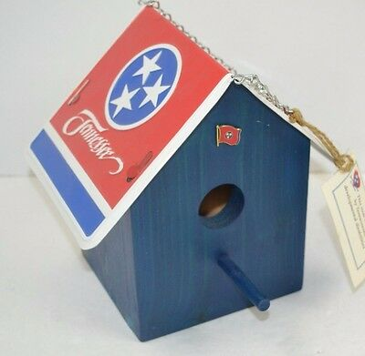 """Tennessee State Flag """"Tin Roof"""" Birdhouse Handmade - Blue NEW"""