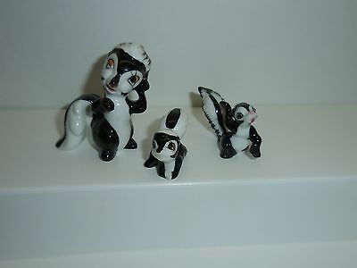Miniature Bone China Skunk Figurine with Two Babies – Made in Japan