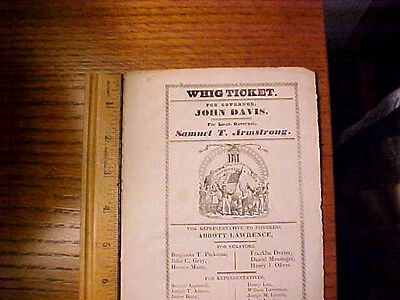 Antique RARE 1834 political Whig party Ticket John Davis Governor Boston Mass
