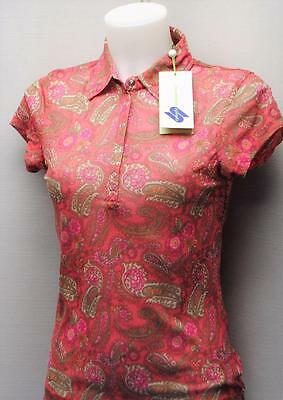 New Ladies Daily Sports cap sleeves sheer nylon blouse golf top Med red paisley