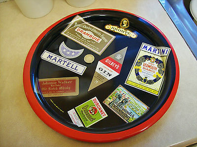 Vintage advertising metal tray, Martell brandy, Gilbey's gin, Drambuie, Martini.