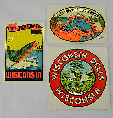 040 Vtg Suitcase Luggage Sticker Lot Of 3 Wisconsin Travel Dells Lake Superior