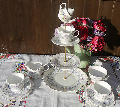 Quirky  Vintage mayflair lilac mad hatter cake stand tea set  with trio's
