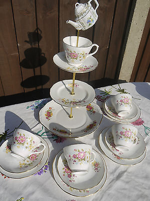 Quirky Vintage Duchess tea set & mad hatter cake stand  & 4 trio's