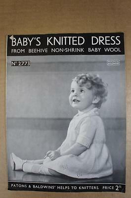 Vintage Patons knitting pattern No.2773 Baby's knitted dress in 3 ply