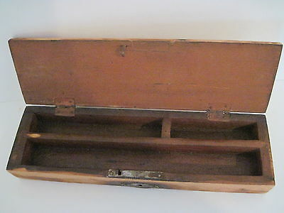 """Early Old Primitive Wood Small Pencil Box With Lock Hinged Lid 8"""" X 2 1/4"""""""