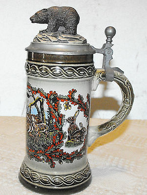 Gerz Gerzit Bear Beer Stein W Germany Erbo Zinn Tankard Lid Deer 1960-1990 Mark