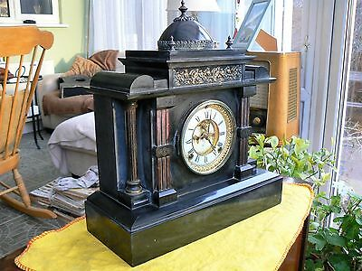 Large 1890's ANSONIA BLACK SLATE MANTEL CLOCK - Working