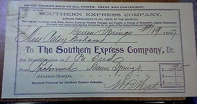 "Collectible 1897 Bill Head ""The Southern Express Company..""   Barren Springs, VA"
