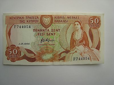 1984 Cyprus 50 Cent Bank Note