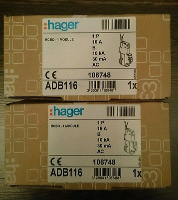 2 x hager 16 a rcbo's