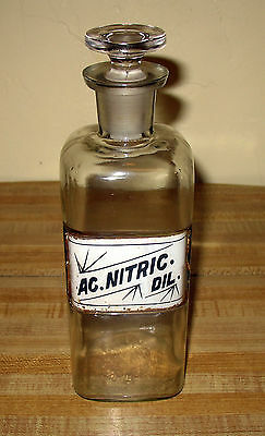 Ac. Nitric. Dil. Nitric Acid Pharmaceutical Apothecary Bottle Label under Glass