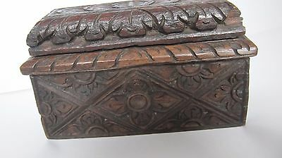 Antique vintage small carved wooden box.Unusual shape.