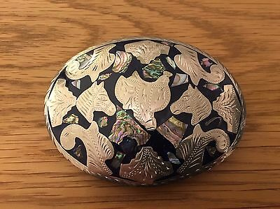 Large Mexican Alpaca Silver Belt Buckle Abalone Horse Saddle