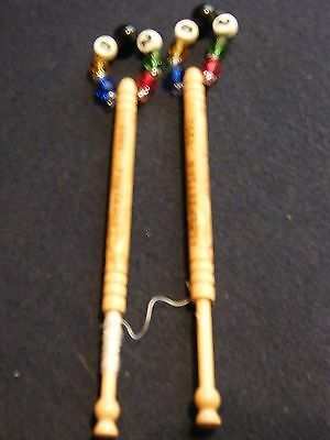 Pair of spangled wooden lace bobbins 1992 Olympic Games