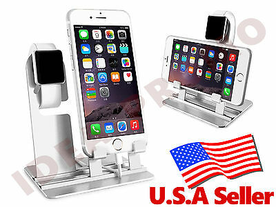 Stainless Steel Charging Stand Holder Dock Station for Apple Watch iPhone White