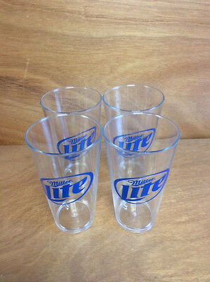 New Miller Lite 16oz Pint Glasses - Clear Acylic- Set of 4 - Free Shipping