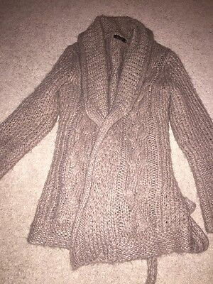 Brown Knitted Wrap And Tie Topshop Maternity Cardigan Coatigan 10