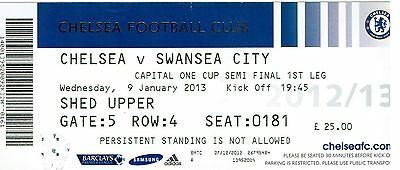 Chelsea v Swansea - League Cup Semi Final 1st Leg - 2012/13 - Used Ticket