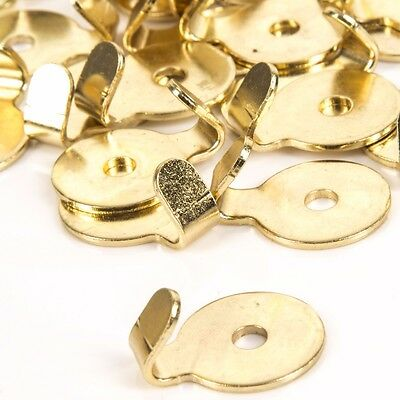 10 x STRONG BRASS PLATED ROUND PICTURE HOOKS Mirror Painting Frame Wall Hanging