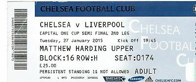 Chelsea v Liverpool - League Cup Semi Final 2nd Leg - 2014/5 - Used Ticket