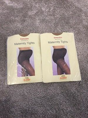 Two Pairs Maternity Tights, One Size, 20 Denier, Glossy, Emma-Jane