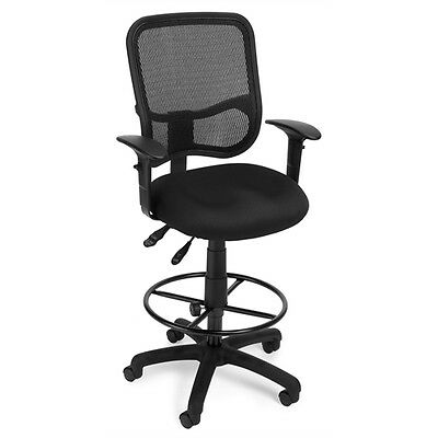 OFM Comfort Series Ergonomic Mesh Task Stool with Arms and Drafting Kit -...