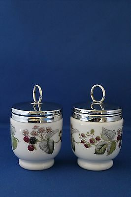 A Pair Of Small Size Royal Worcester Fruit Berries Pattern Egg Coddlers