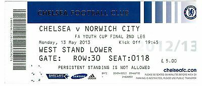 Chelsea v Norwich - FA Youth Cup Final 2nd Leg - 2012/13 - Used Ticket