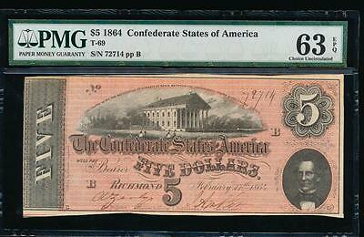 AC T-69 $5 1864 Confederate Currency CSA PMG 63 EPQ