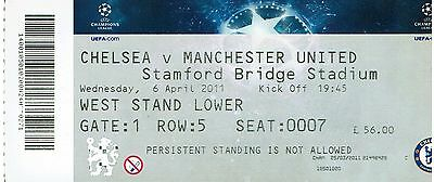 Chelsea v Man Utd - Champions League Quarter Final - 2010/11 - Used Ticket